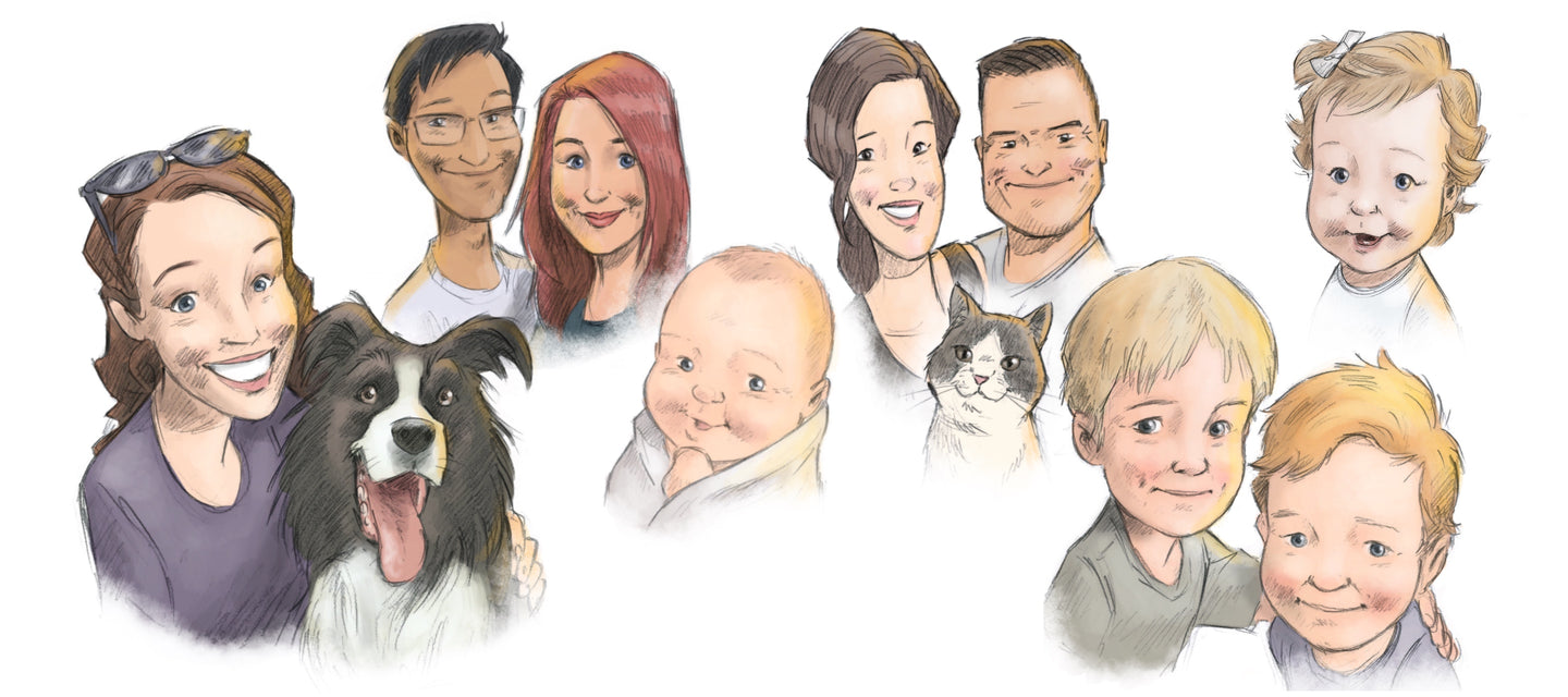 illustrated children's books, art print, wall art, kids books, portraits, custom portraits, pet portraits, family portraits.