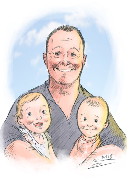 A4 (Small) Colour Custom Portrait (includes A4 pencil portrait) Pet Portrait - People Portrait