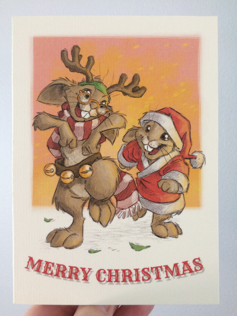 Merry Christmas (Rudolf the Hare) Card