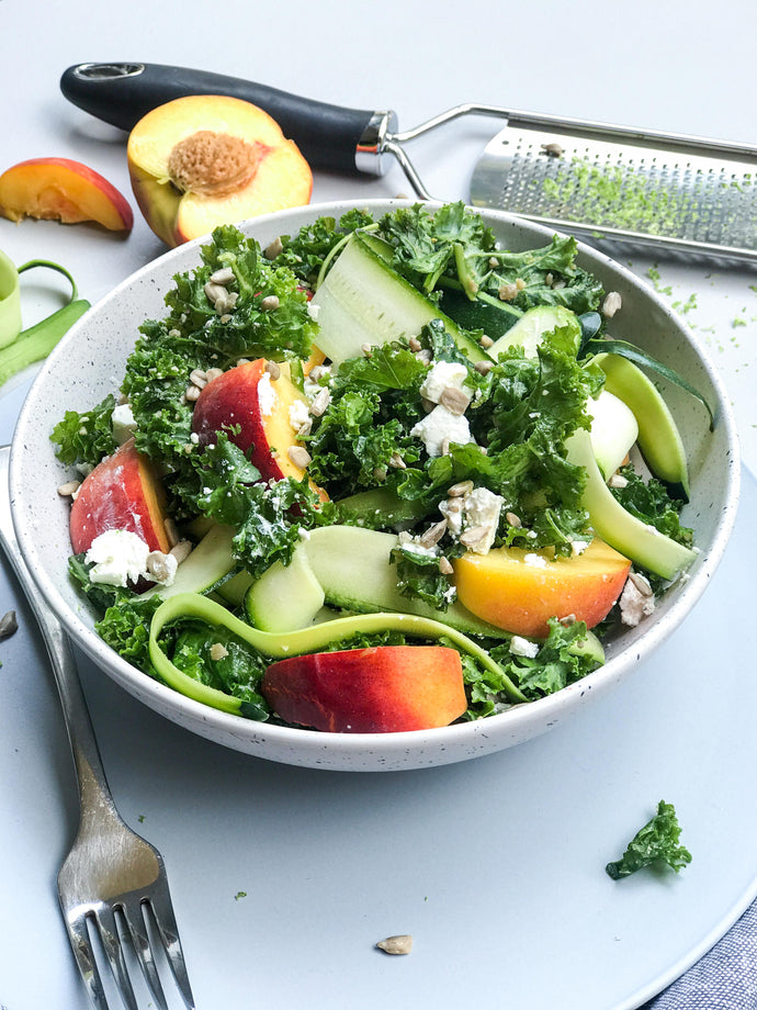 Nectarine and Kale Salad with Ginger and Lime Dressing