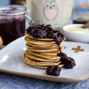 Naked Paleo Coconut Pancakes and Blueberry Chai Sauce Recipe | Healthy Paleo Snack Bars Food