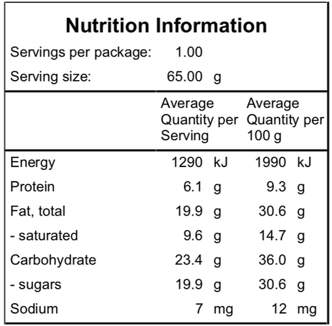 Naked Paleo Minty Matcha Nutritional Information Bar