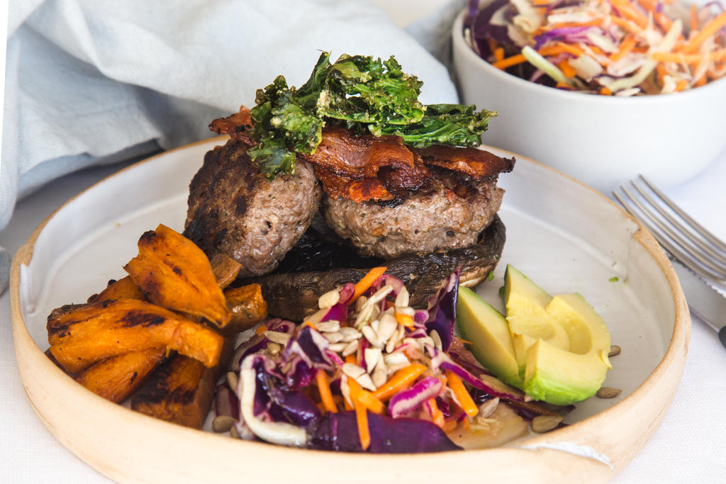 Beef Burger Stacks with Tangy Coleslaw Recipe Naked Paleo Blog Healthy Bars and Mylk Infusion Latte Powders