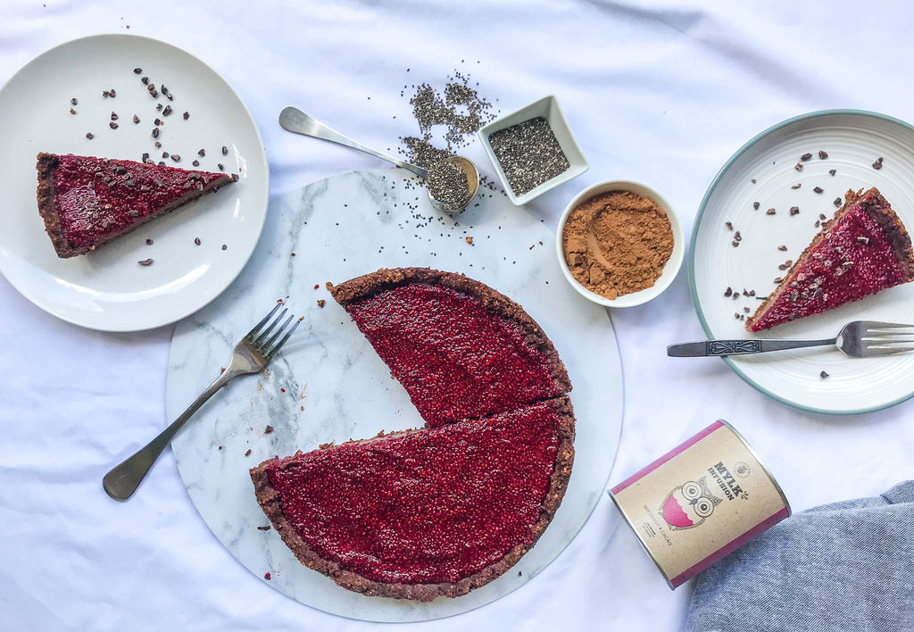 Naked Paleo Blog Choc Beetroot Mousse Tart Raspberry Chia Jam Recipe