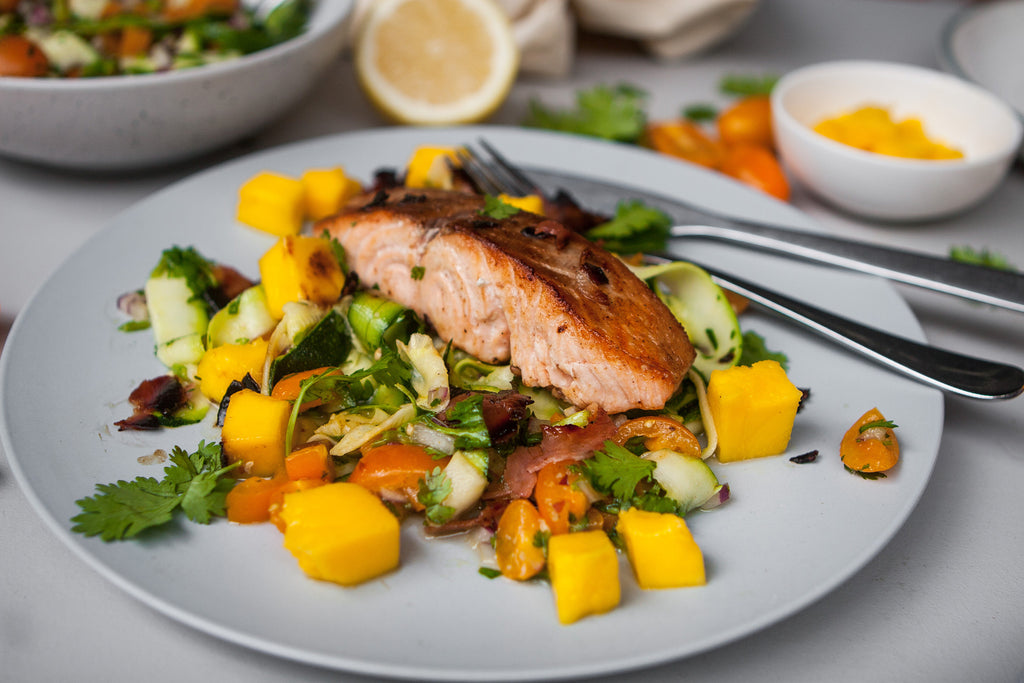 Mango and Fresh Tomato Zucchini Pasta with Crispy Prosciutto Recipe Kelly Richardson The Gourmet Nutritionist Naked Paleo Blog