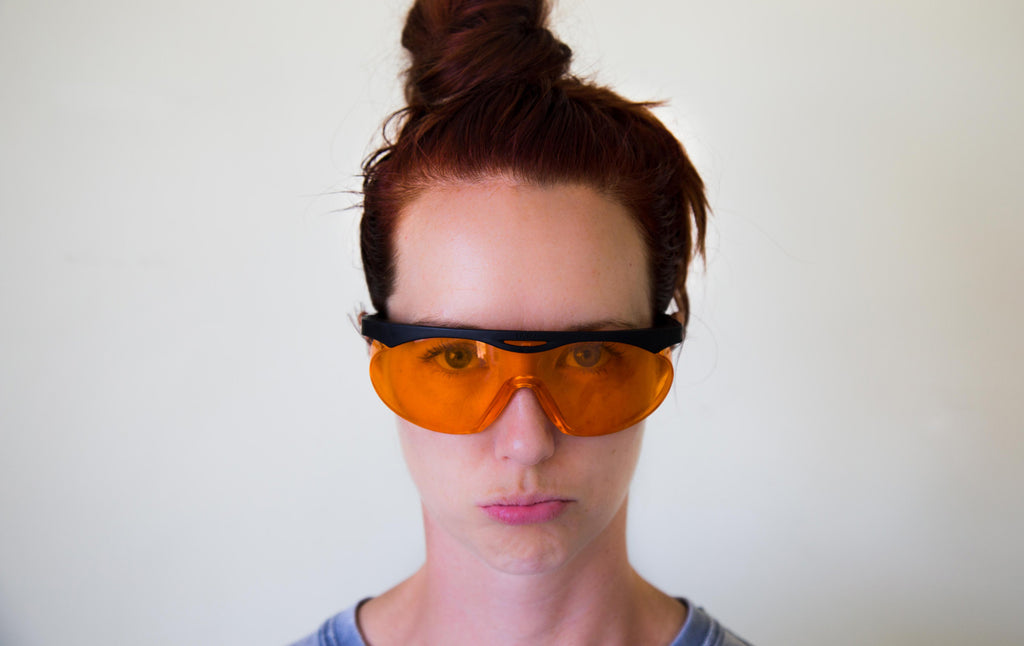 Jen wearing Uvex Blue Light Blocker Glasses Naked Paleo