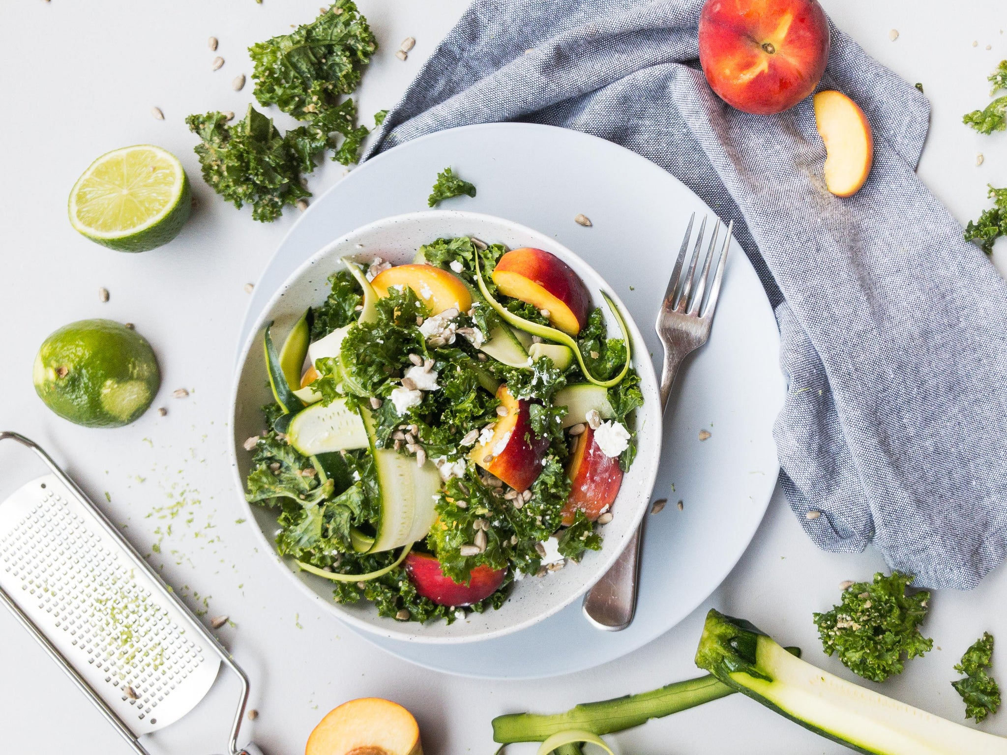 Nectarine and Kale Salad with Ginger and Lime Dressing Recipe Naked Paleo Blog Healthy Bars and Mylk Infusion Latte Powders