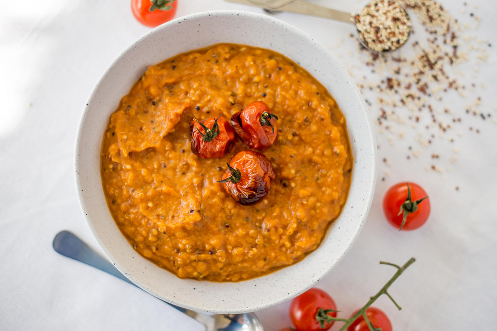 Tomato Pumpkin and Quinoa Soup Recipe Naked Paleo Blog Healthy Bars and Mylk Infusion Latte Powders