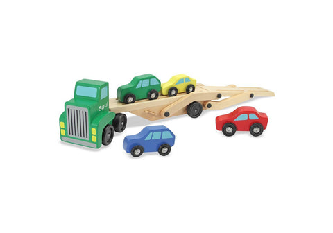Personalized Car Carrier Truck & Cars Wooden Toy Set