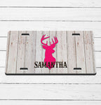 Barnwood Pink Deer Name License Plate