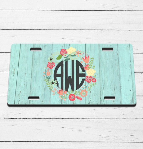 Barnwood Blue Monogram License Plate