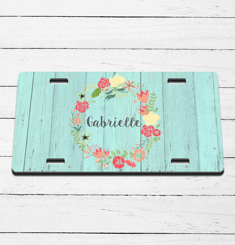 Barnwood Blue Name License Plate