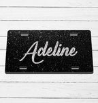 Black Glitter Name License Plate