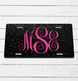 Black Glitter Monogram License Plate