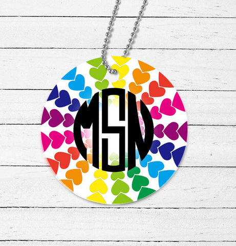 Rainbow Hearts Monogram Mirror Charm