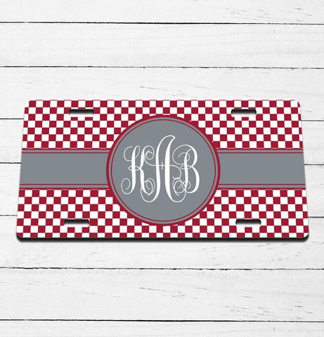 Checkered Ribbon Monogram License Plate