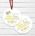 Elephant Birth Announcement Ornament