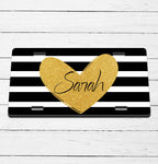 Glitter Heart Striped Name License Plate