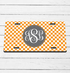Checkered Monogram License Plate