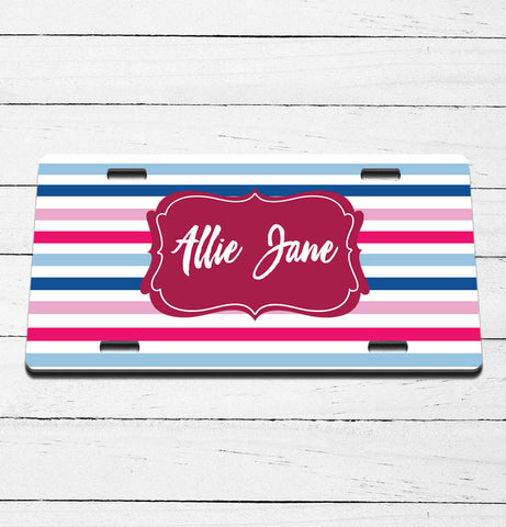 Striped Name License Plate