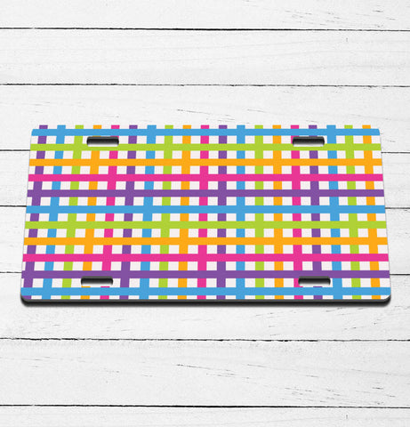 Neon Plaid License Plate