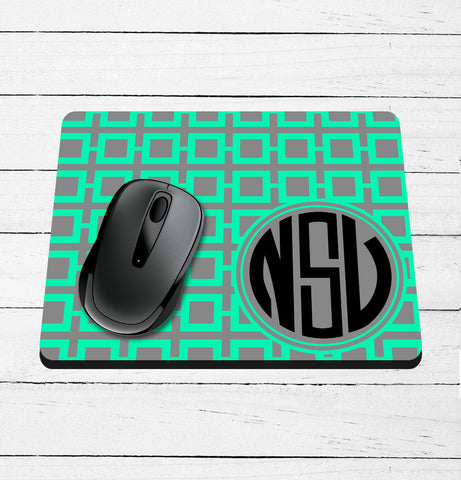 Square Pattern and Monogram Custom Printed Mouse Pad