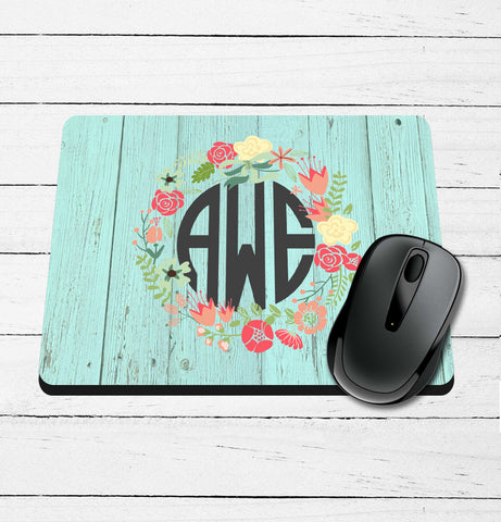 Barnwood and Wreath Monogram Printed Mouse Pad