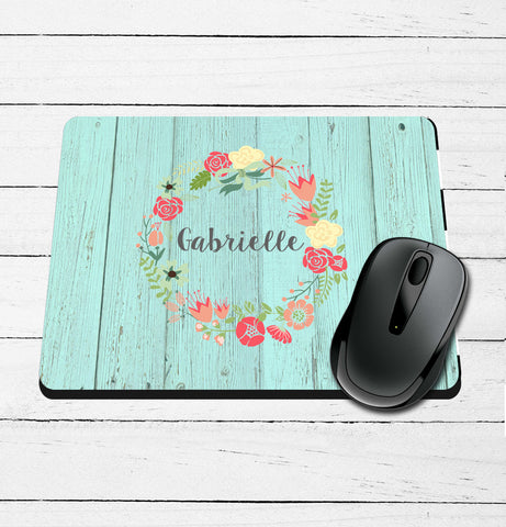 Barnwood and Wreath Personalized Printed Mouse Pad