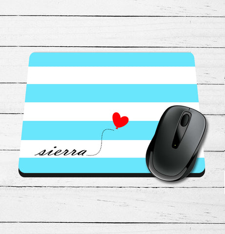 Striped with Heart Name Mouse Pad