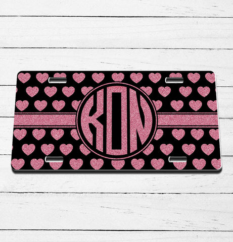 Pink Glitter Hearts Monogram License Plate