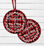 Plaid First Christmas Ornament