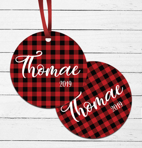 Plaid Name Ornament