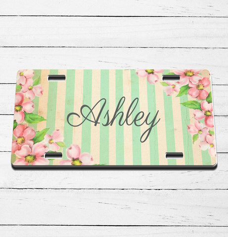Shabby Chic Floral Name License Plate