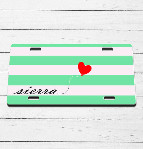 Striped with Heart Name License Plate