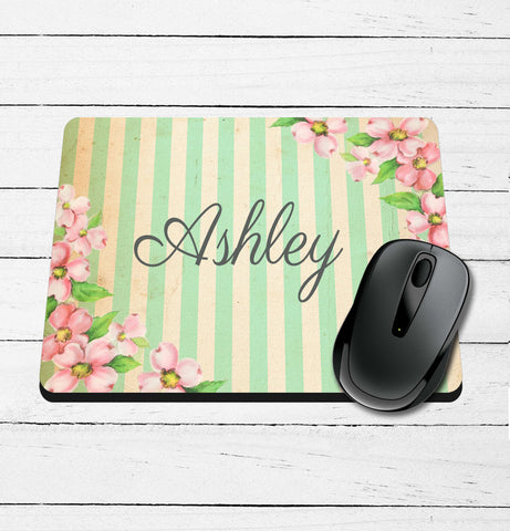 Vintage Striped Name Mouse Pad