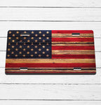 Wood Flag License Plate