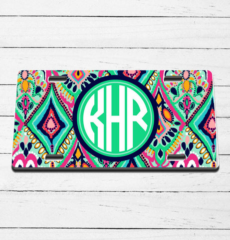 Lily Inspired Monogram License Plate