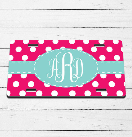 Polka Dot Monogram License Plate