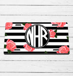 Rose Striped Monogram License Plate