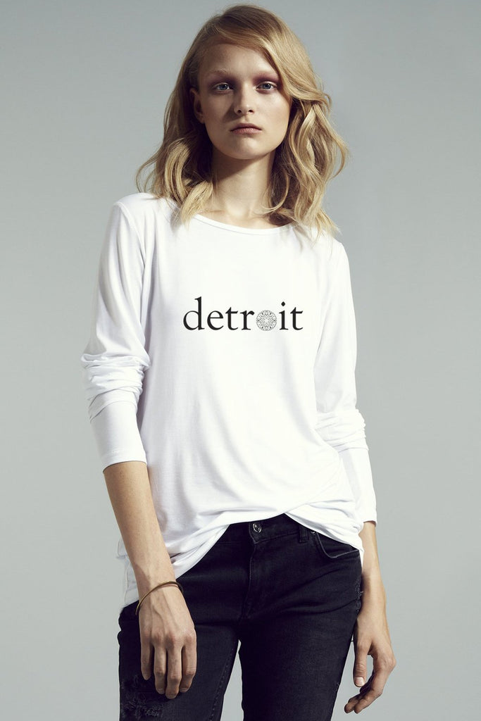 The Detroit Long Sleeve Relaxed Crew Neck Tee