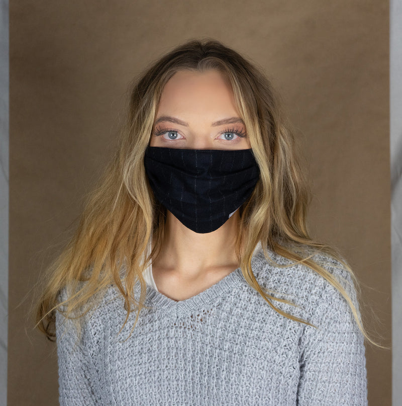Adult unisex mask midnight blue cashmere and wool pinstripe
