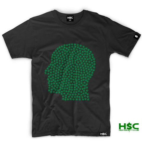 "High Society Club ""Pot Head"" T Shirt. Black/Green"