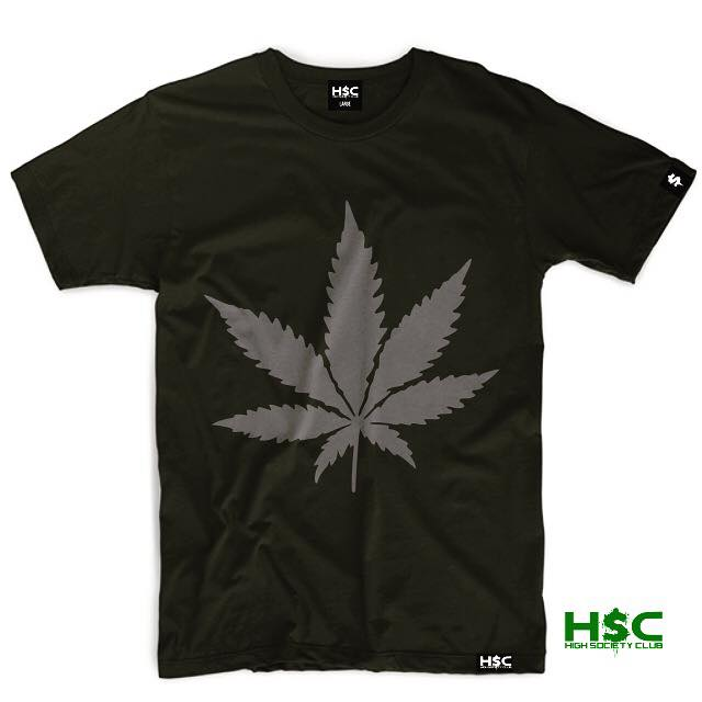 "High Society Club ""Pot Leaf"" T Shirt. Red/White"
