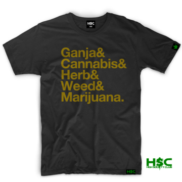 "High Society Club  ""Ganja & Cannabis & Herb & Weed & Marijuana"" T Shirt. Black"