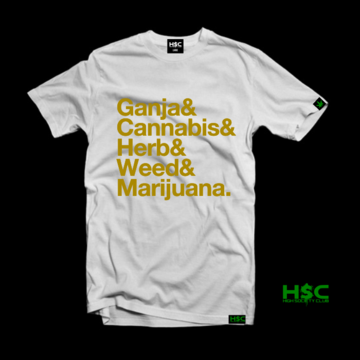 "High Society Club  ""Ganja & Cannabis & Herb & Weed & Marijuana"" T Shirt. - White/Gold"