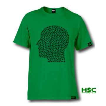 "High Society Club ""Pot Head"" T Shirt. Green/Green"