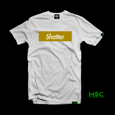 "High Society Club  ""Shatter"" T Shirt. White/Gold"