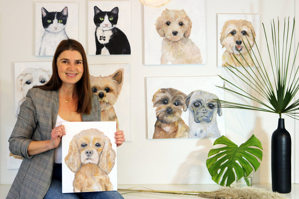 Modern Dog and Cat Pet Paintings by Vancouver Artist Liz Clay of Cici Art Factory.  Original Cat & Dog portraits painted in 1-2 weeks.