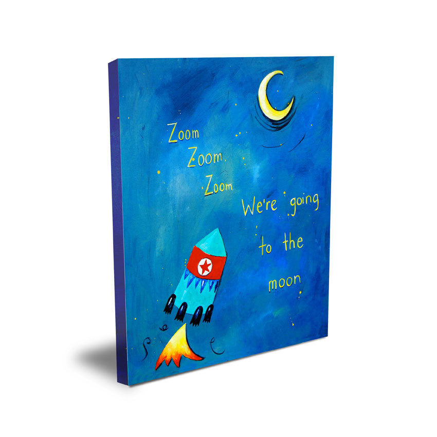 Blue Bunny Art for Kid's Rooms -  Catch a Shooting Star  Art for Baby Nursery