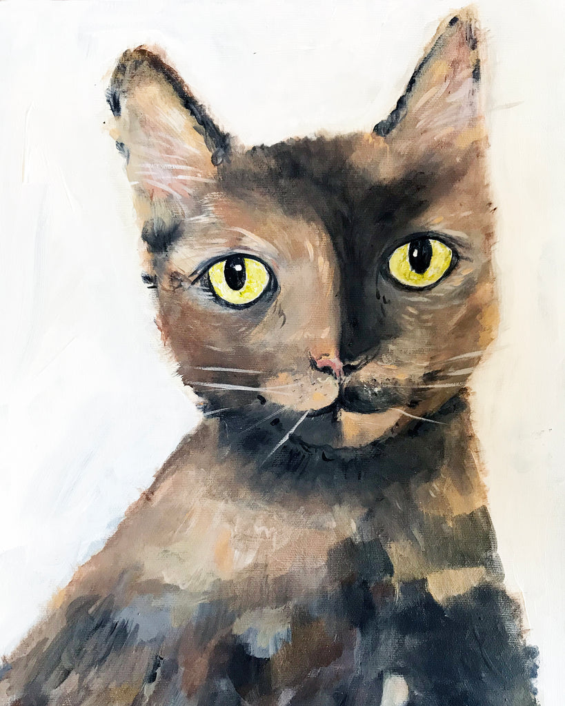 Modern Cat Portrait - Pet Art for your home by Vancouver artist Liz Clay